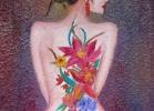 """Orquidea"" (22 x 16 cm) Oil & Sand on Canvas"