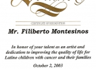 Certificado ca senator Gloria Romero