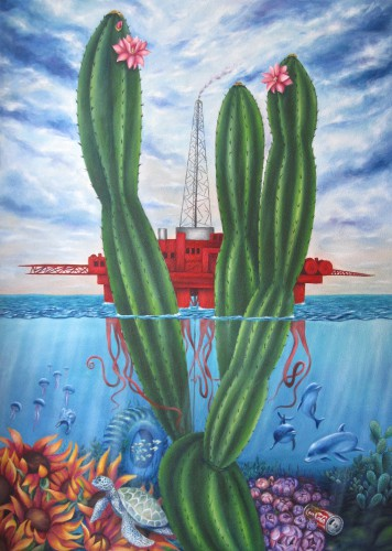Filiberto Montesinos_SIMBIOXICACION_100 x 140 cm_2015_Oil & Sand on canvas